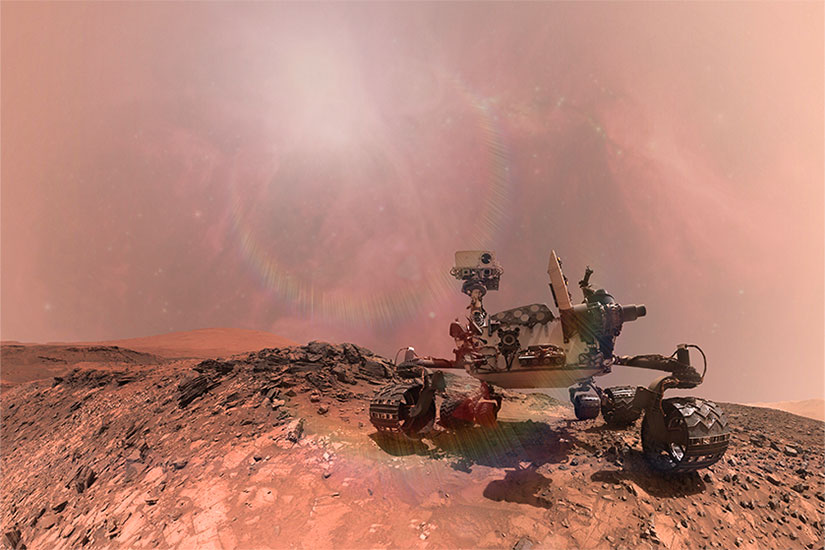 Mars Rover in dust storm
